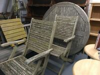 WOODEN GARDEN TABLE AND TWO CHAIRS