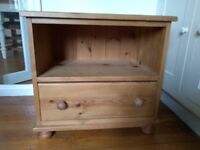 Pine bedside table with one drawer
