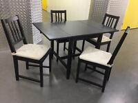 Black extendable table with 4 chairs, Free delivery