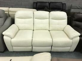 White leather 3 seater recliner sofa