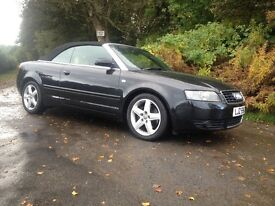 AUDI A4 CONVERTIBLE 2005 FSH STUNNING!! BLACK WITH CREAM LEATHER
