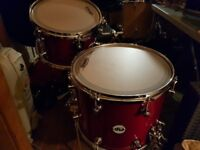DW Frequent Flyer Drum inc Snare and Cases, in beautiful Cherry Satin Lacquer.