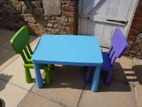 Ikea Mammut Kids Childrens Play Table and Chairs Set Nursey Plastic - Great Condition