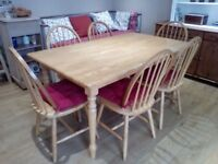 Solid hardwood table & 6 chairs