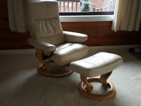 Ekornes recliner chair and footstool cream leather