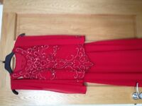 Red formal dress with matching shawl
