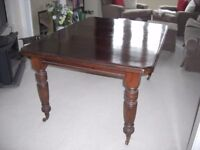 Antique Victorian Wood Extending Dining Table & Chairs