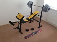 Everlast EV115 Starter Weight Bench with 30kg Vinyl Weight Plate Set and 5ft Bar