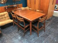 Lem Senge Danish Dining Table & 6 Chairs. Retro Vintage Mid Century