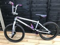 Kids Mongoose Silver and Purple BMX Bike