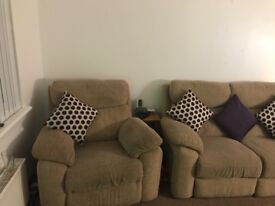 Beige material 2 seater sofa and 2 chairs + mirror