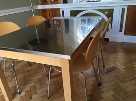 John Lewis 6 seater rectangular Stainless Steel topped table and 4 matching curve chairs
