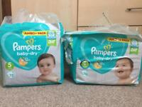 *New Pampers baby-dry nappies size 4+ and 5 jumbo pack