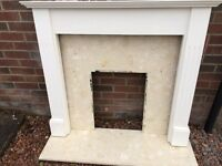 Wooden fire surround, marble panel and hearth