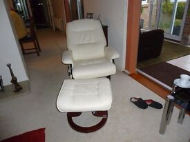WHITE RECLINER CHAIR AND MATCHING STOLL