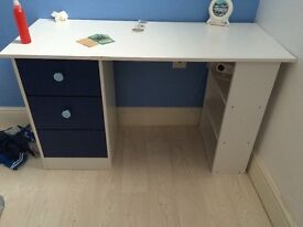 White small desk with draws.