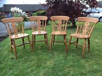 Cottage Style Dining Chair - Pine Dining Chairs - Set Of 4 Dining Chairs - Good Condition - Reduced
