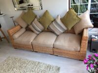 Wicker indoor sofa, feather cushions, with storage