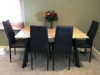 Modern wood top dining table with 4 chairs