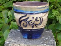 Blue Glazed Ceramic Garden Planter Swirl Detail Garden Pot Plant Pot 18cm Tall