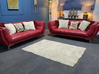 Gorgeous red leather suite 3 seater sofas x 2