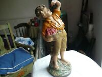Victorian China Figure of Boy Eating Cherries. 19 ins high. 8ins diameter base. Perfect condition.