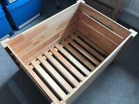 IKEA wooden ottoman / cushioned seat