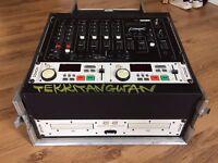 Citronic DJ mixer and Denon dual cd player in flightcase