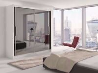 120 CM🏩Chicago 2 Door Sliding Wardrobe Full Mirror, Shelves, Hanging Rails Express Delivery🏩
