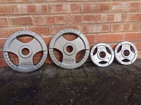2 x 10KG & 2 x 2.5KG OLYMPIC WEIGHT PLATES