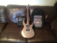 Pro QUALITY ELECTRIC GUITAR CRUISER CRAFTER with Humbuckers 3 pickups & Amp with Overdrive case&more