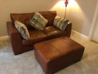 Brown leather Sofa(s) and Footstool