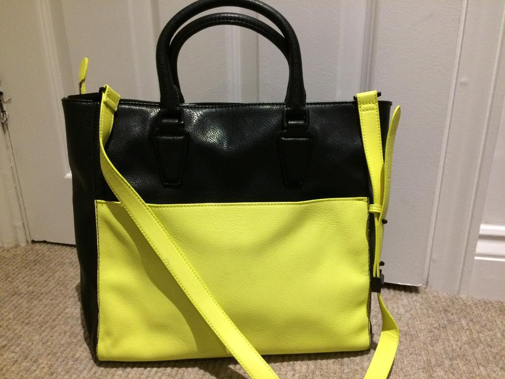 Charles Keith Designer Hand Bag Black Neon Yellow With Strap