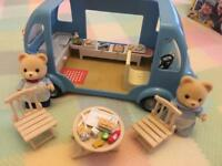 Sylvanian Families Fish and Chip Van with characters and accessories