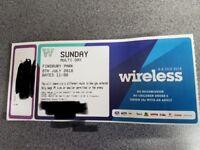 Wireless tickets for sat/sun 7/8 July 2018