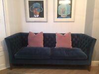 Three Seat Sofa in Deep Turquoise Cotton Matt Velvet