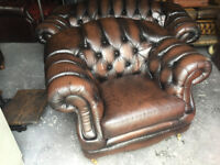 Brown leather 2 seater Chesterfield sofa...matching chairs available