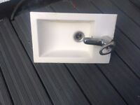 Compact 400mm Bathroom Cloakroom Vanity basin only with tap