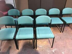 Green Fabric Stackable Chairs - Tubular Frame