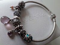Pandora 19cm bracelet and 8 charms boxed
