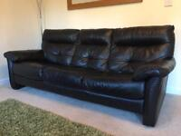 3 & 2 black leather sofas