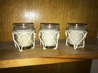 Candles and candle holders x3