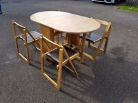 Solid Wood Butterfly Table & 4 Folding Chairs FREE DELIVERY 372