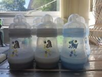 6x MAM anti colic self sterilising 5oz bottles