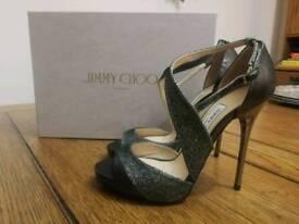 Jimmy Choo Anthracite Lamé Glitter and Metallic Nappa Sandals
