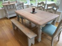 Farmhouse table chairs and bench set with sideboard