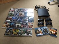 PS3 Slim 120 GB Console Bundle - 4 Controllers, 24 Games