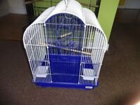 blue and white cage