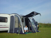Suncamp Ultima 260 lightweight caravan awning. Colour blue/grey.