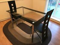 Dining table (glass) and 2 chairs